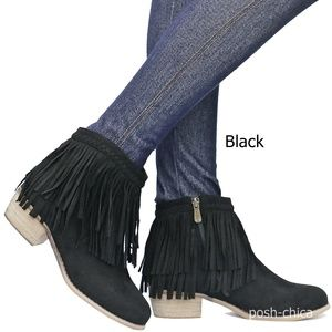 New Black Fringe Western Ankle Boots Booties